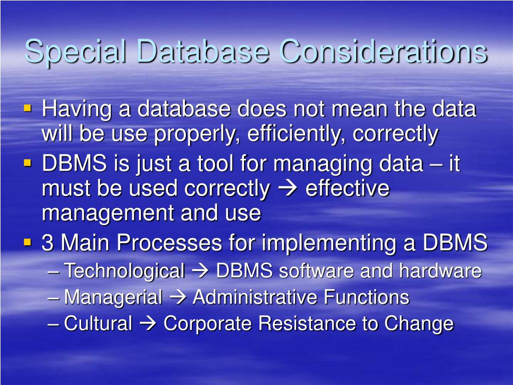 Special Database Considerations