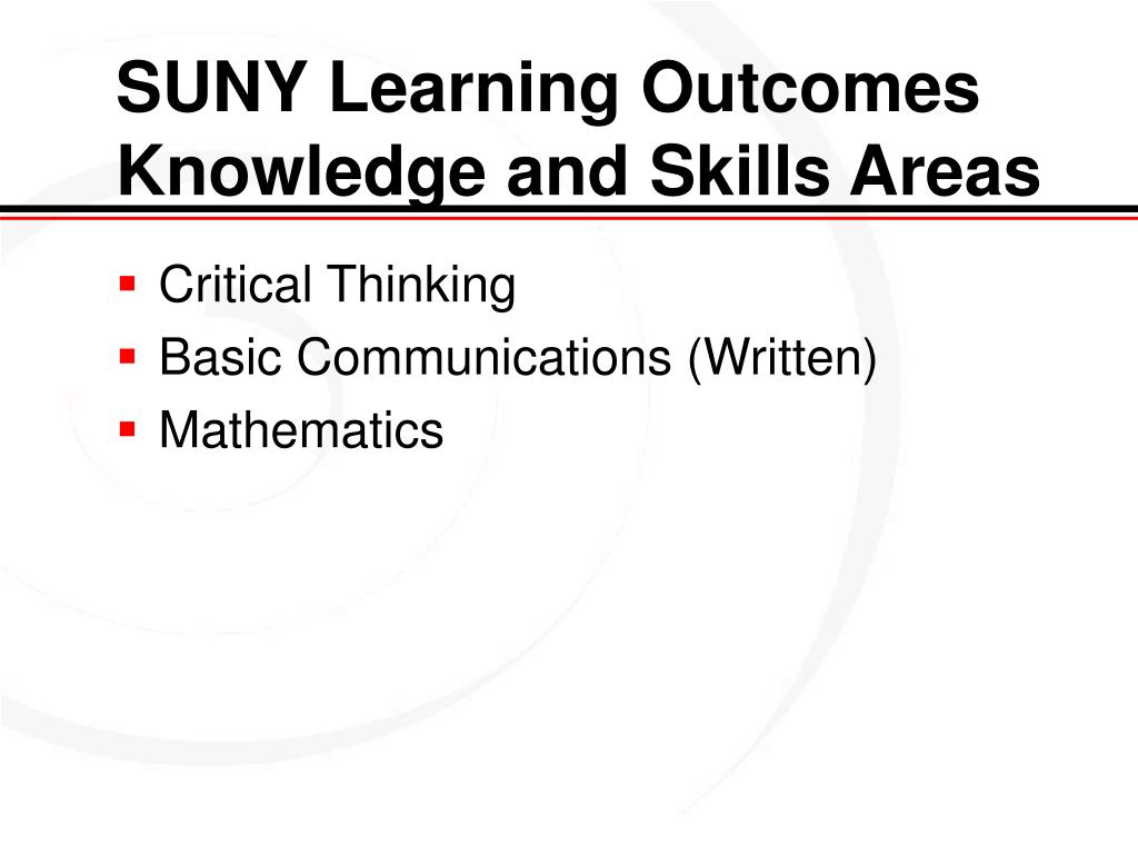 SUNY Learning Outcomes Knowledge and Skills Areas