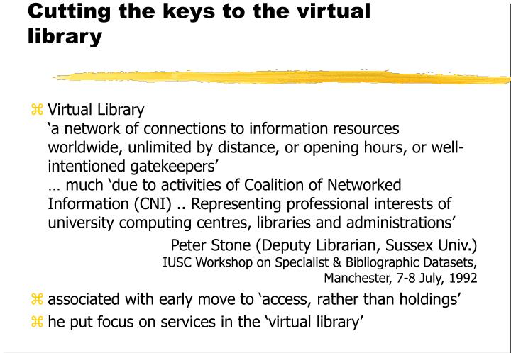 Cutting the keys to the virtual library