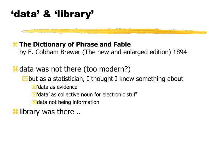 'data' & 'library'