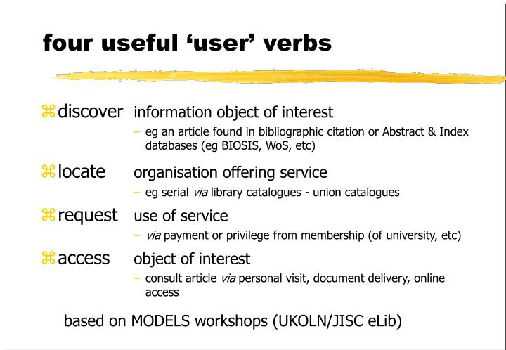 four useful 'user' verbs