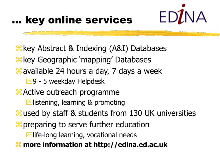 ... key online services