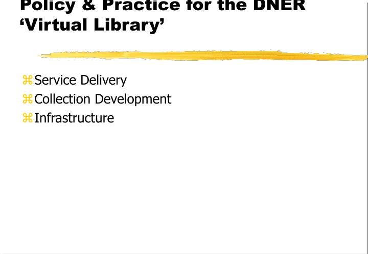 Policy & Practice for the DNER 'Virtual Library'