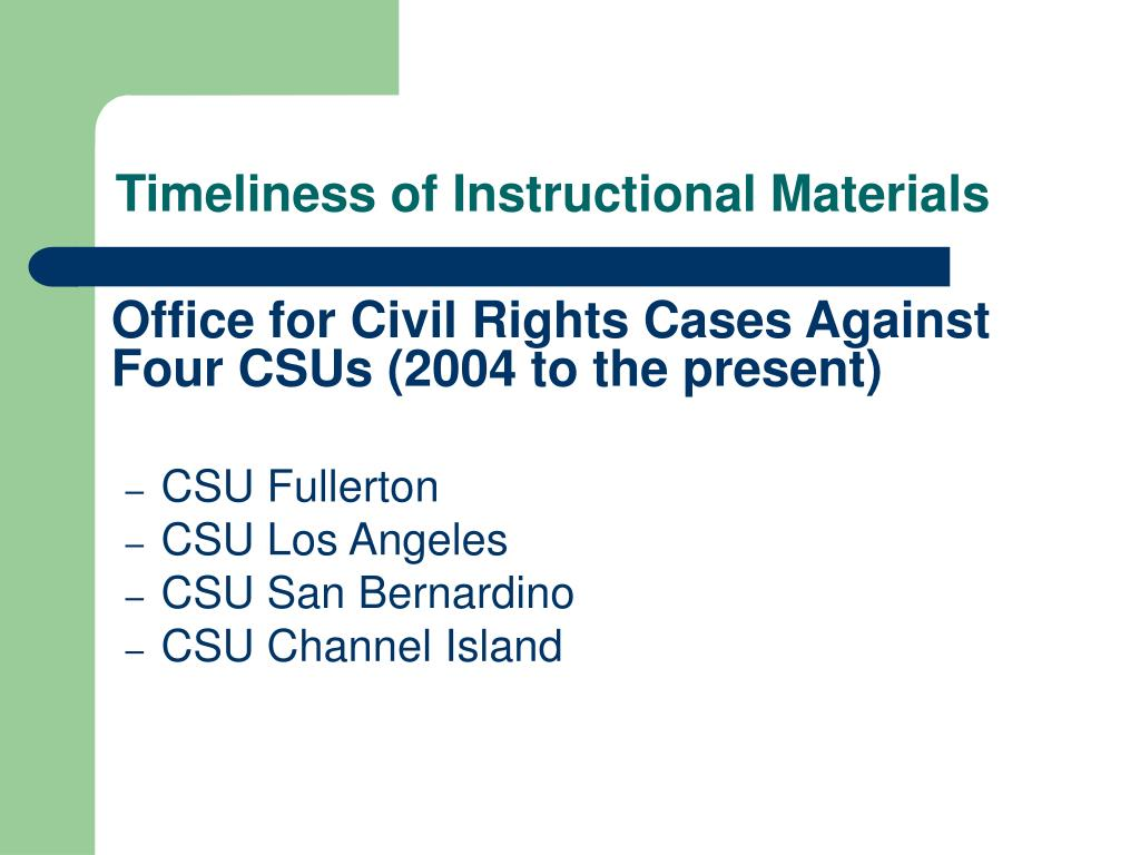 Timeliness of Instructional Materials