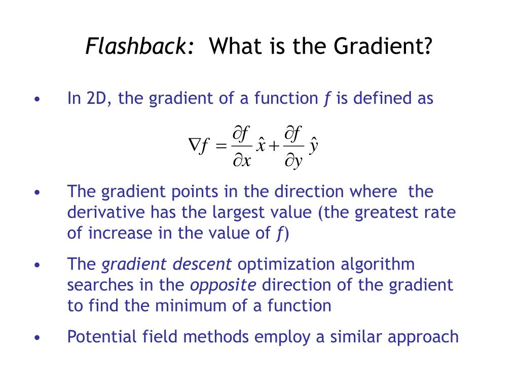 In 2D, the gradient of a function