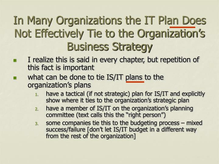 In Many Organizations the IT Plan Does Not Effectively Tie to the Organization's Business Strategy