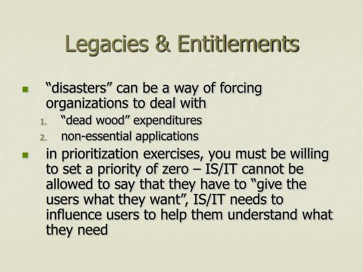 Legacies & Entitlements