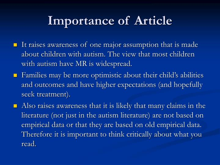 Importance of Article