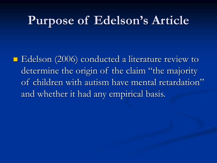 Purpose of edelson s article