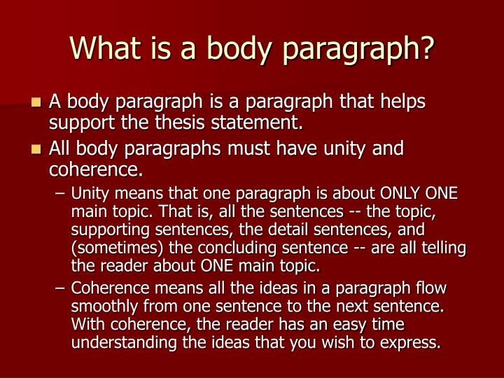 What is a body paragraph