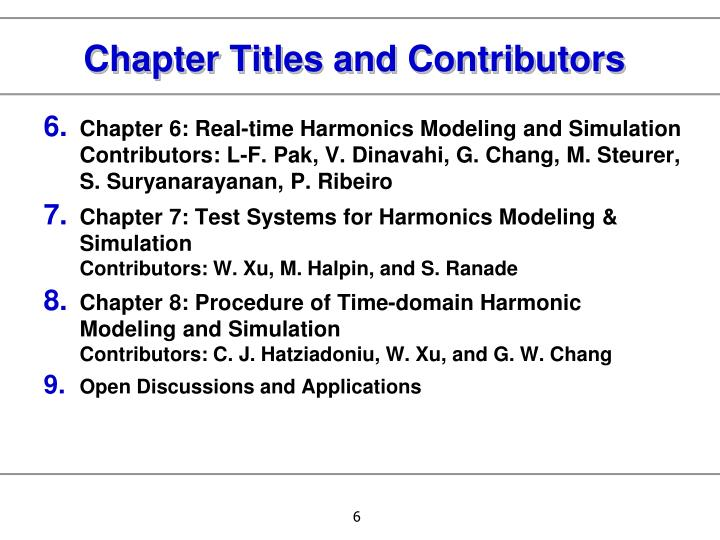 Chapter Titles and Contributors
