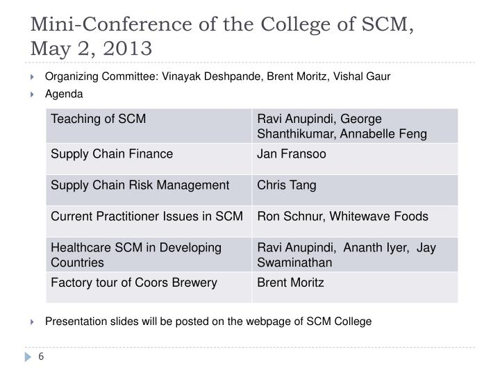 Mini-Conference of the College of SCM,