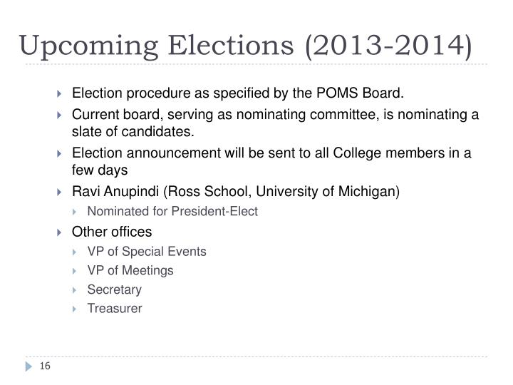 Upcoming Elections (2013-2014)