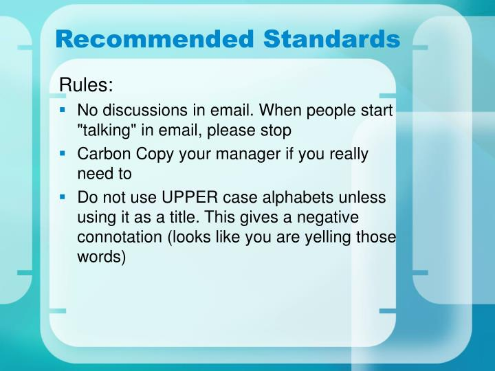 Recommended Standards