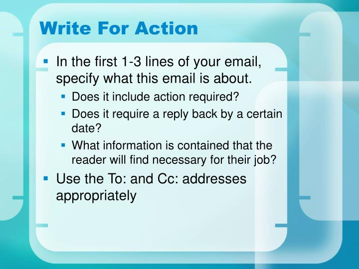 Write For Action