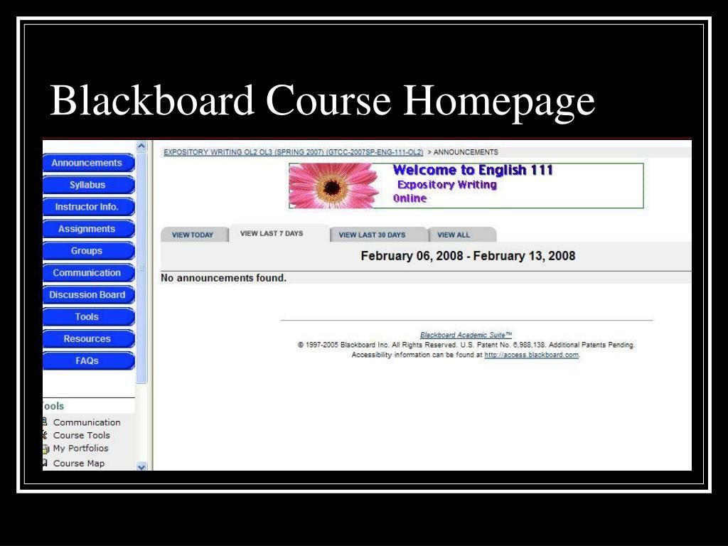 Blackboard Course Homepage