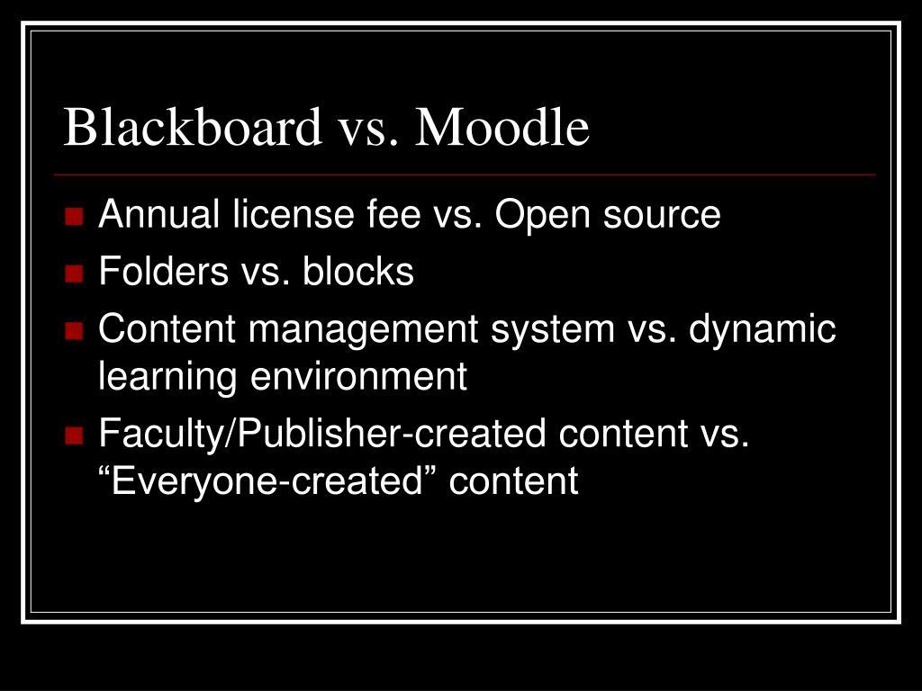 Blackboard vs. Moodle