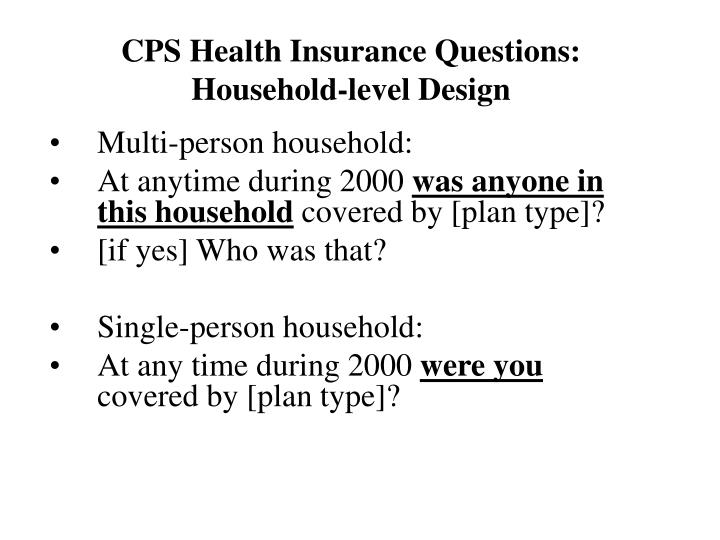 CPS Health Insurance Questions: Household-level Design