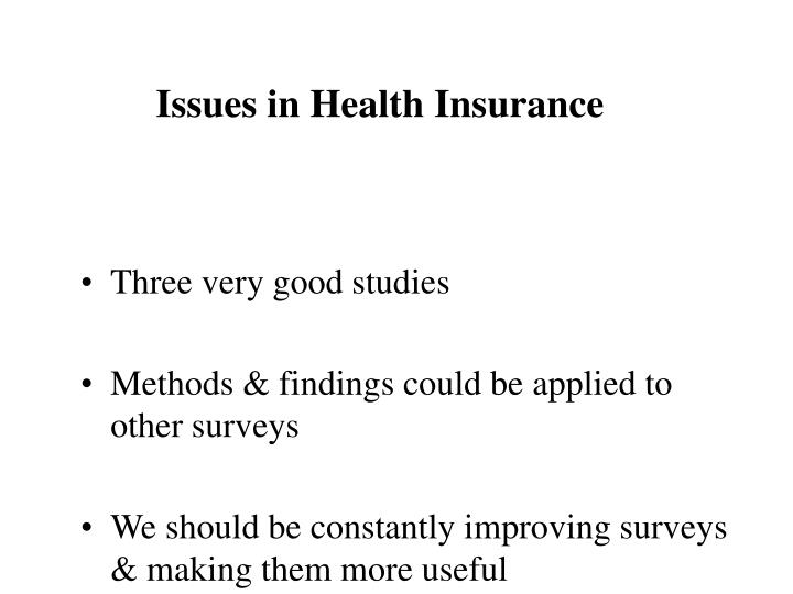 Issues in Health Insurance
