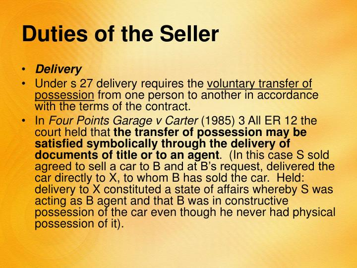 Duties of the Seller