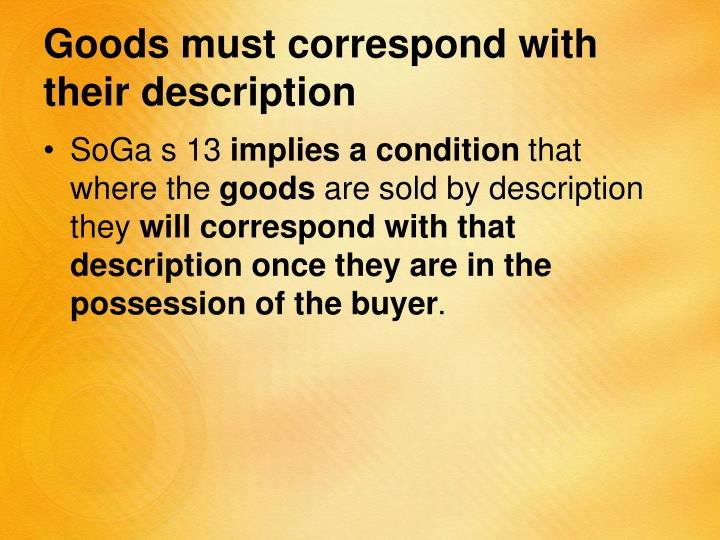 Goods must correspond with their description