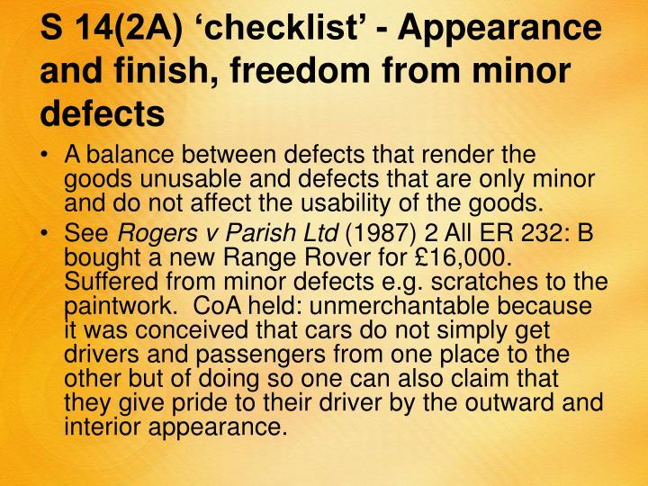 S 14(2A) 'checklist' -