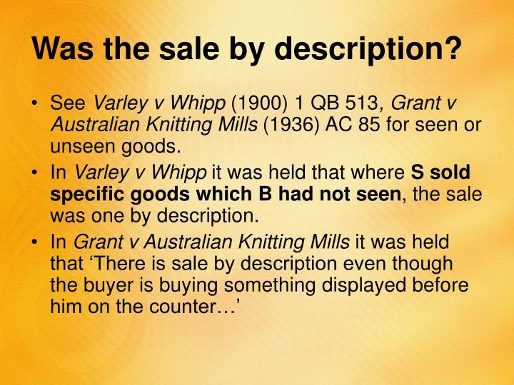 Was the sale by description?
