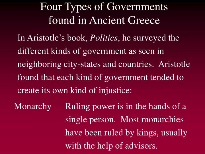 Four types of governments found in ancient greece
