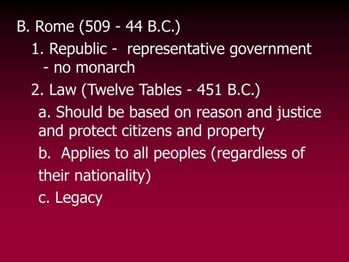 B. Rome (509 - 44 B.C.)