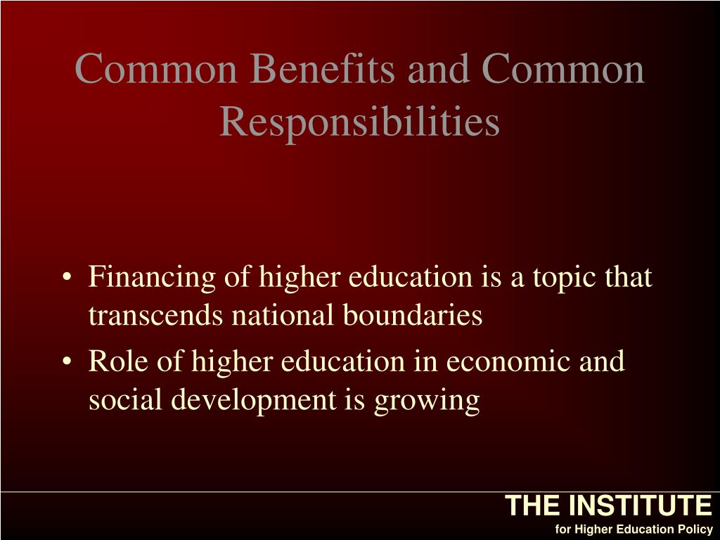 Common Benefits and Common Responsibilities