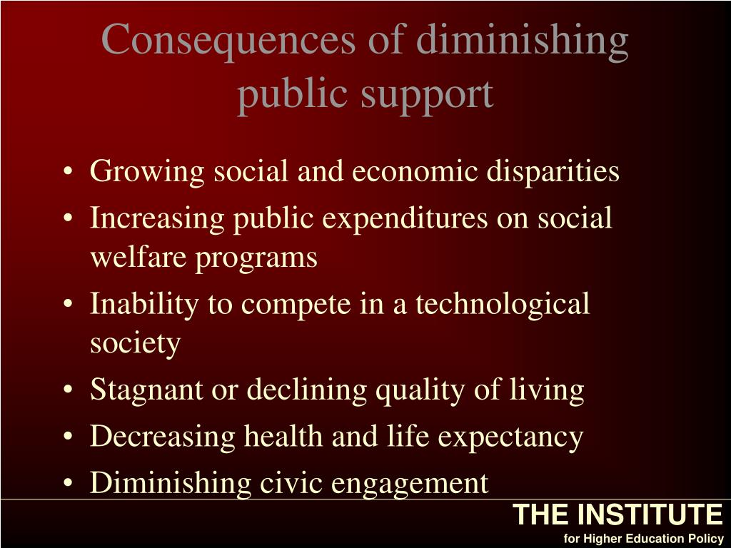Consequences of diminishing public support