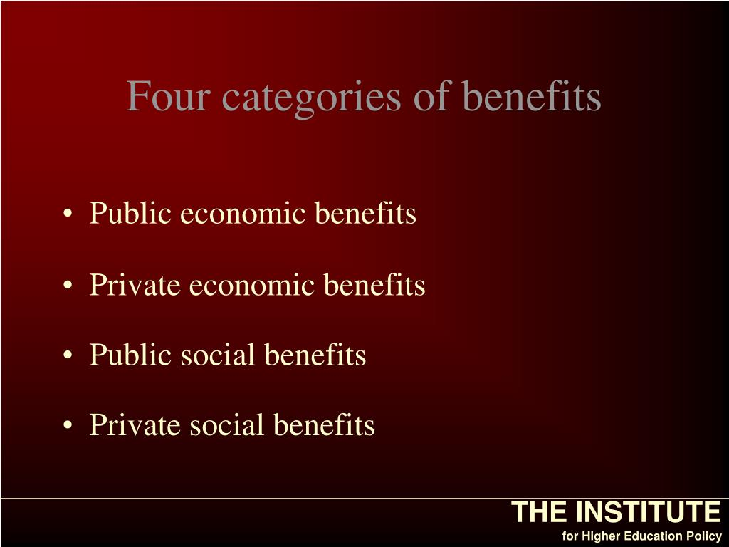 Four categories of benefits