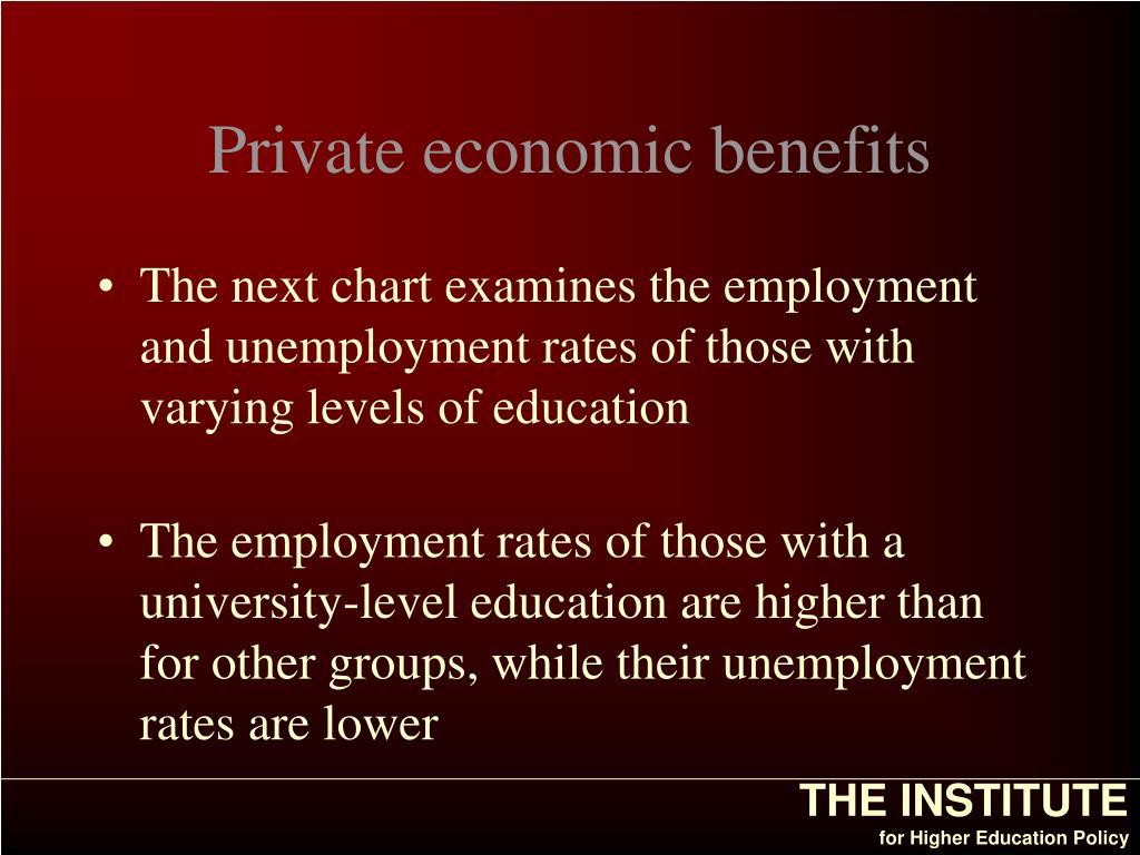 Private economic benefits