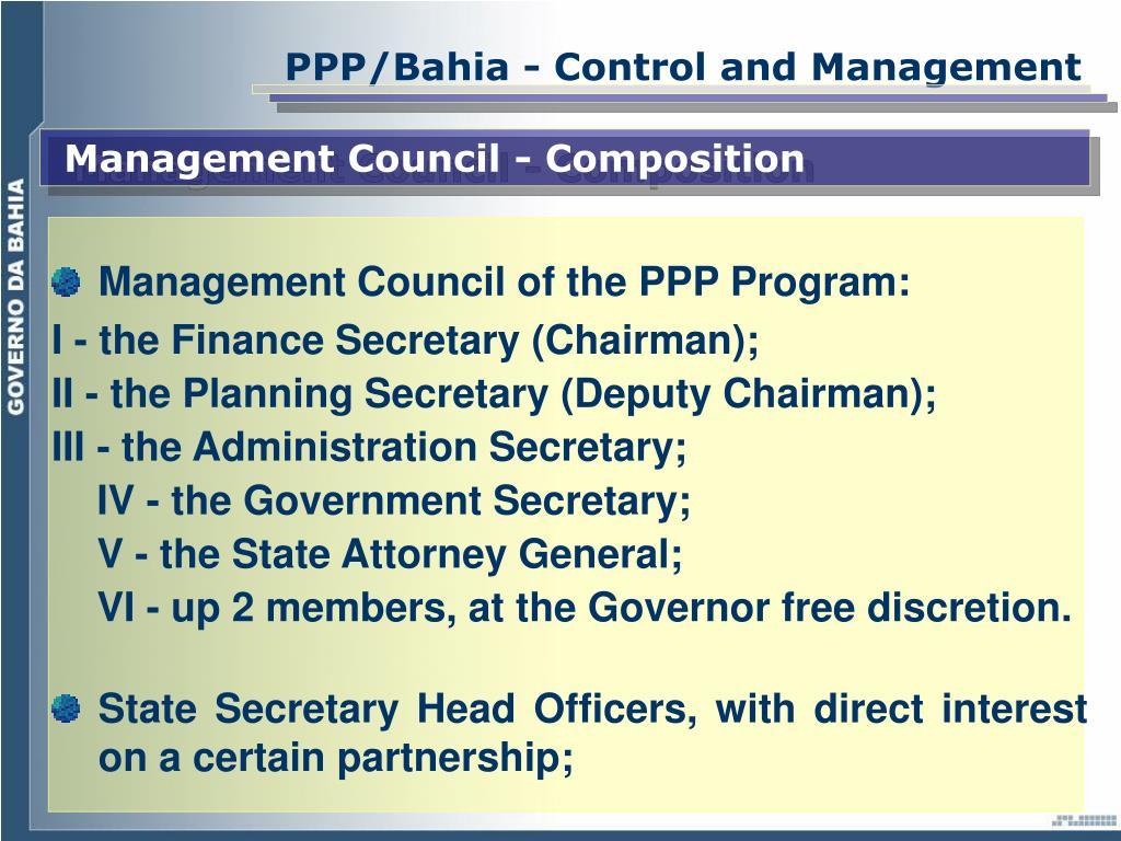 PPP/Bahia - Control and Management