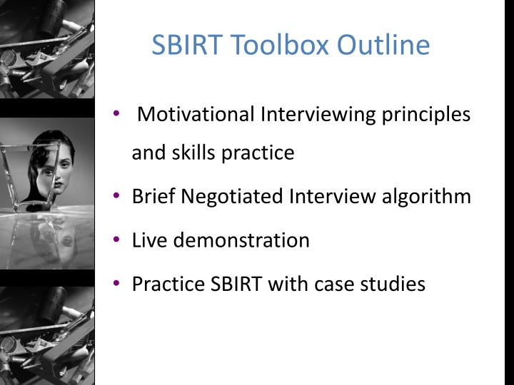 Sbirt toolbox outline