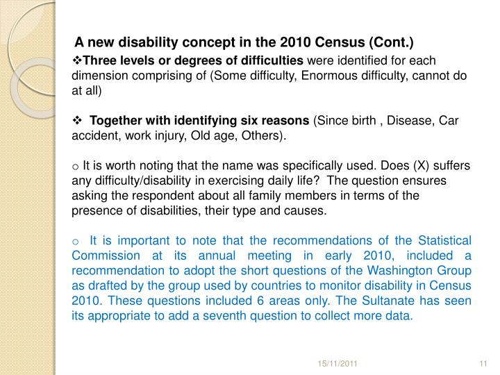 A new disability concept in the 2010 Census (Cont.)