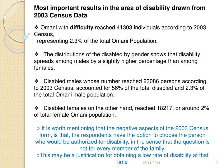 Most important results in the area of disability drawn from 2003 Census Data
