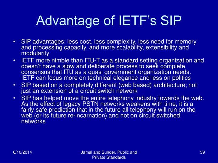 Advantage of IETF's SIP
