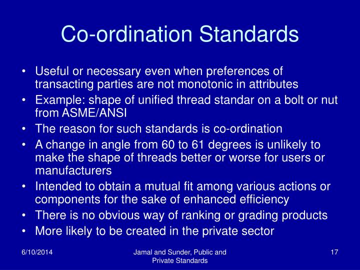 Co-ordination Standards