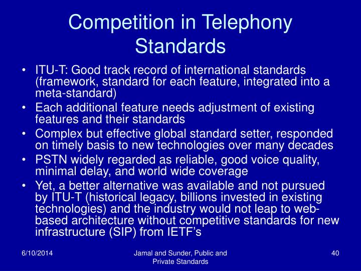 Competition in Telephony Standards