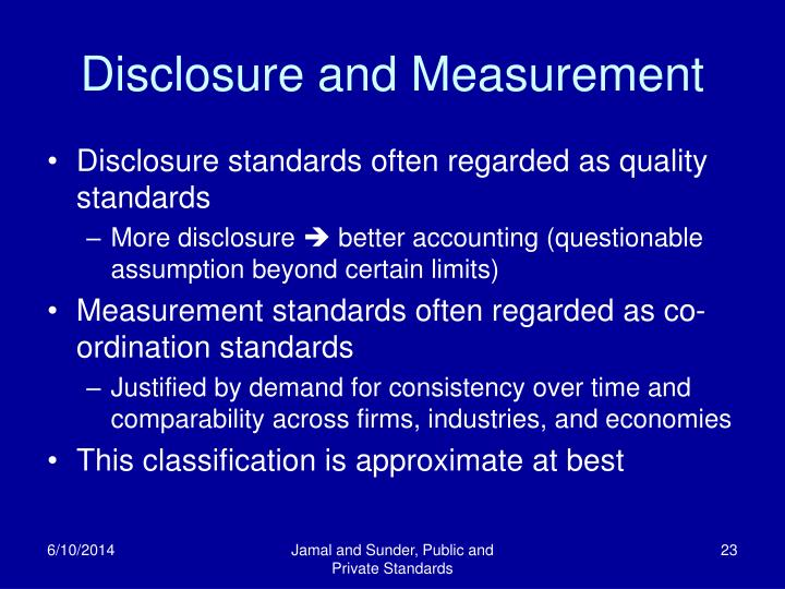 Disclosure and Measurement