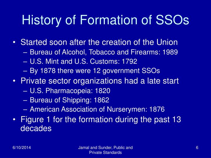 History of Formation of SSOs