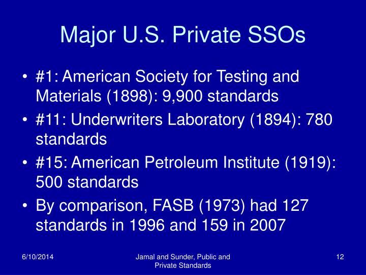 Major U.S. Private SSOs