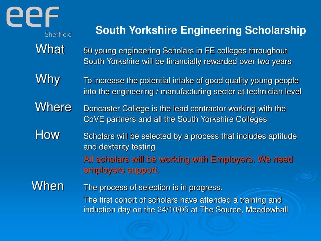 South Yorkshire Engineering Scholarship
