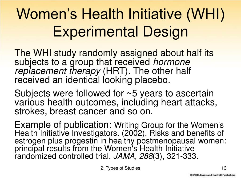 Women's Health Initiative (WHI) Experimental Design