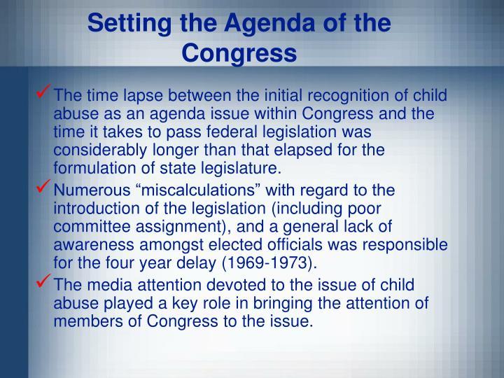 Setting the Agenda of the Congress