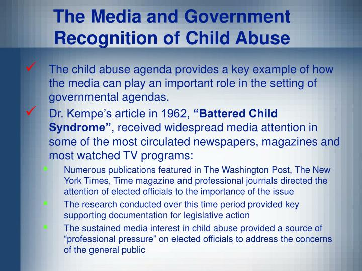 The Media and Government Recognition of Child Abuse