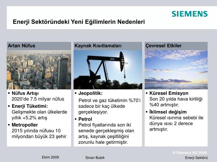 Enerji Sektöründeki Yeni Eğilimlerin Nedenleri