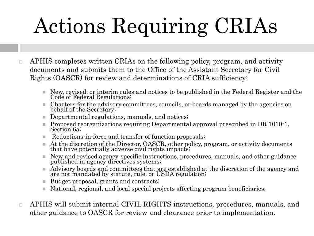 Actions Requiring CRIAs