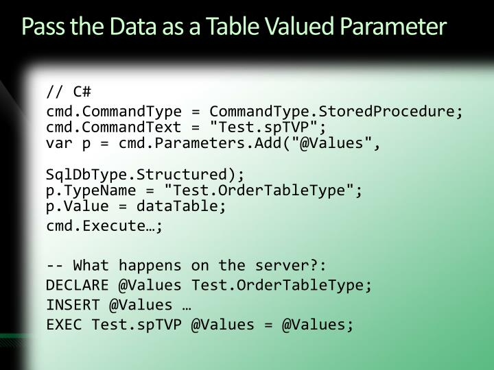 Pass the Data as a Table Valued Parameter